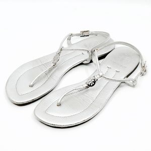 TORY BURCH~reva~SILVER LEATHER SLINGBACK SANDALS
